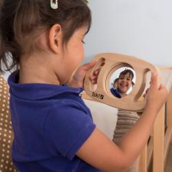 Miroir double face à poignée en bois facile à agripper