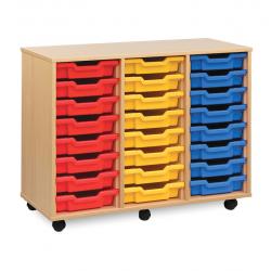 Unité de rangement de bacs avec 24bacs peu profonds Multi-couleurs