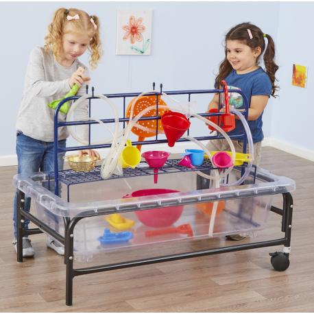 Tables de jeu de sable et d'eau support 40 cm et 58 cm transclucide et bleu