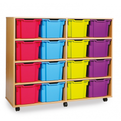 Unité de rangement de bacs avec 16bacs extra profonds couleurs vives