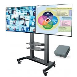 Pied à roulettes et double-écran avec PC