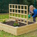 Jardinière carrée en bois avec treillis