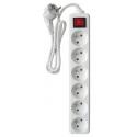 Bloc multiprises 6 prises 16A avec interrupteur blanc