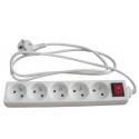 Bloc multiprises 5 prises 16A avec interrupteur blanc