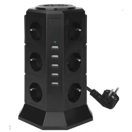Tour Multiprises 12 Prises avec 5 USB 4,5A Ports - Cordon de 2m - Noir