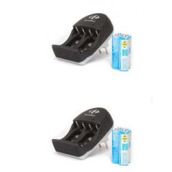 NPU Pack de 2 Chargeurs 4 piles AA, incluant 8 piles AA 1900 mah