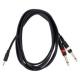 Câble jack 3.5 stéréo vers 2 jack 6.3 mono (3m)