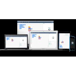 Ressources logiciel mBot pour tablettes Windows, IOS et Android associées à un robot Codey Rocky.