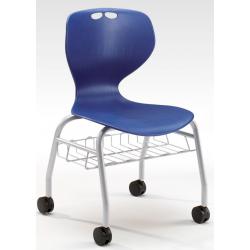 Chaise sur roulettes avec panier métallique