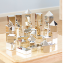 Mini-blocs de construction métalliques argentés 3D
