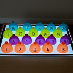Dômes à classer pour boîte lumineuse (Dômes numérotés à classer de 1 à 20)