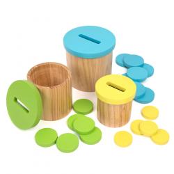 Pots de rempotage en bois colorés (Disques)