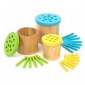 Pots de rempotage en bois colorés (Pailles)
