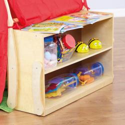 Tente de jeu châssis en bois et rangement de livres