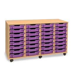 Unité de rangement de bacs avec 32bacs peu profonds