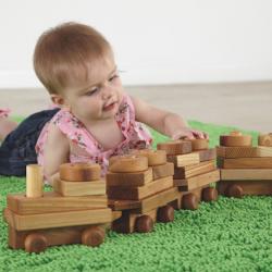 Blocs de construction en bois pour trains