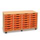 Orange - Unité de rangement de bacs avec 28bacs peu profonds