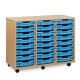 Unité de rangement de bacs avec 24bacs peu profonds bleus