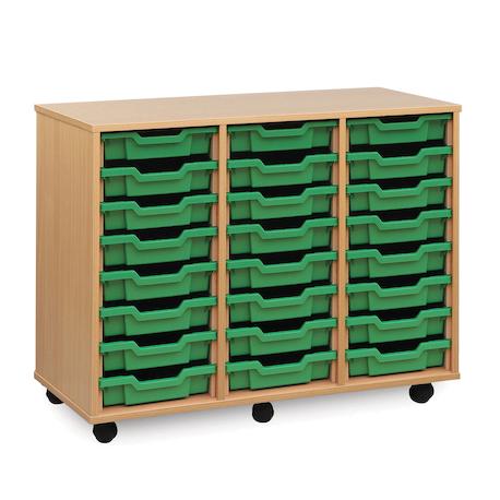 Unité de rangement de bacs avec 24bacs peu profonds verts