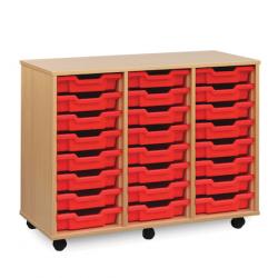 Unité de rangement de bacs avec 24bacs peu profonds rouges
