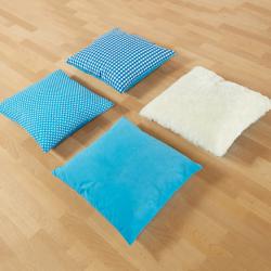 Coussins bleus texturés