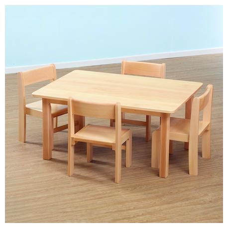 Table rectangulaire et chaises en hêtre massif