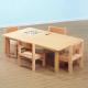 Table rectangulaire et chaises en plaqué hêtre
