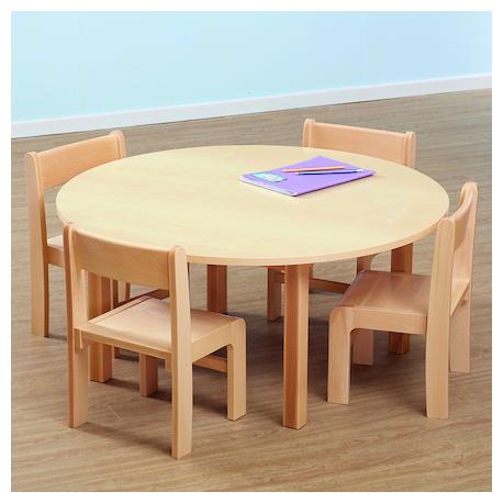 Table ronde et chaises en plaqué hêtre