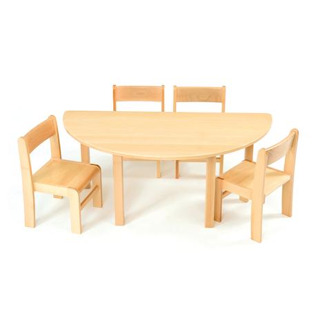 Table en demi-cercle en hêtre massif